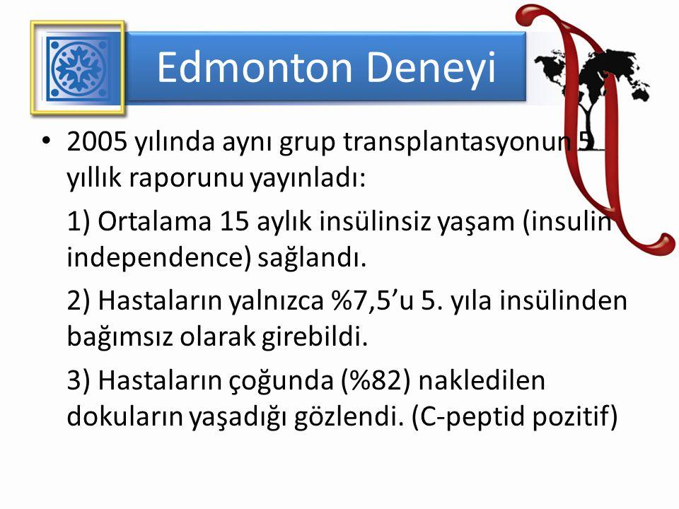 Edmonton Deneyi 2005 yılında aynı grup transplantasyonun 5 yıllık raporunu yayınladı: