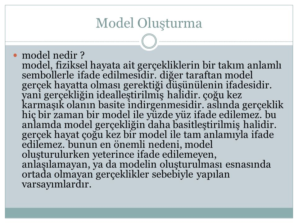 Model Oluşturma