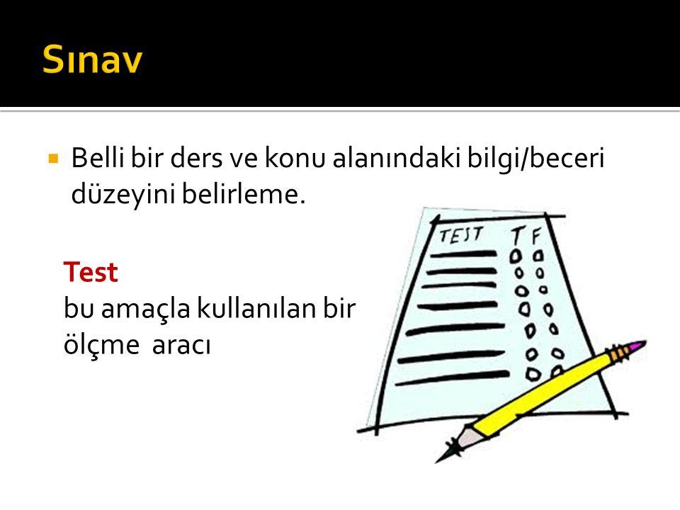 Sınav Belli bir ders ve konu alanındaki bilgi/beceri düzeyini belirleme.