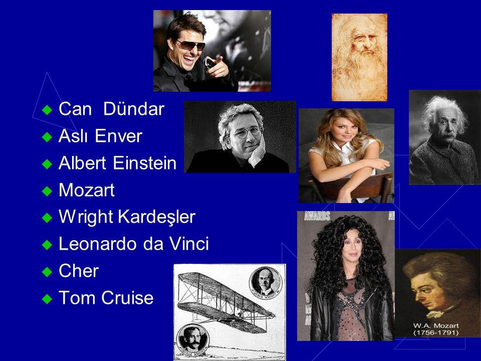 Can Dündar Aslı Enver Albert Einstein Mozart Wright Kardeşler Leonardo da Vinci Cher Tom Cruise