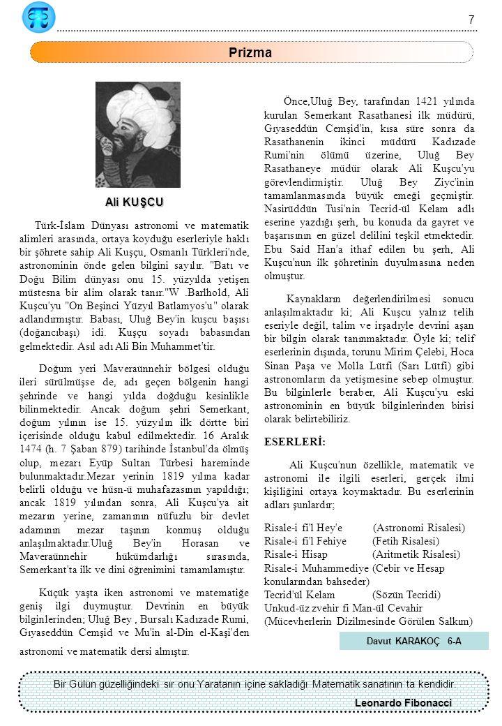 7 Prizma. Ali KUŞCU.