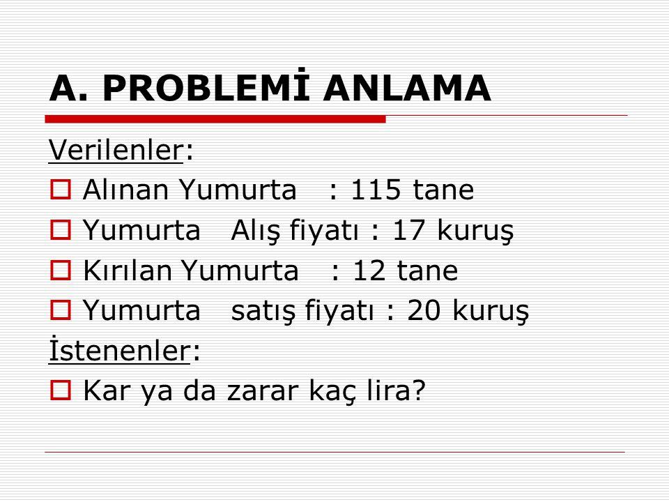 A. PROBLEMİ ANLAMA Verilenler: Alınan Yumurta : 115 tane