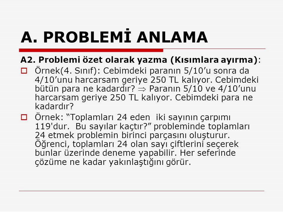 A. PROBLEMİ ANLAMA A2. Problemi özet olarak yazma (Kısımlara ayırma):
