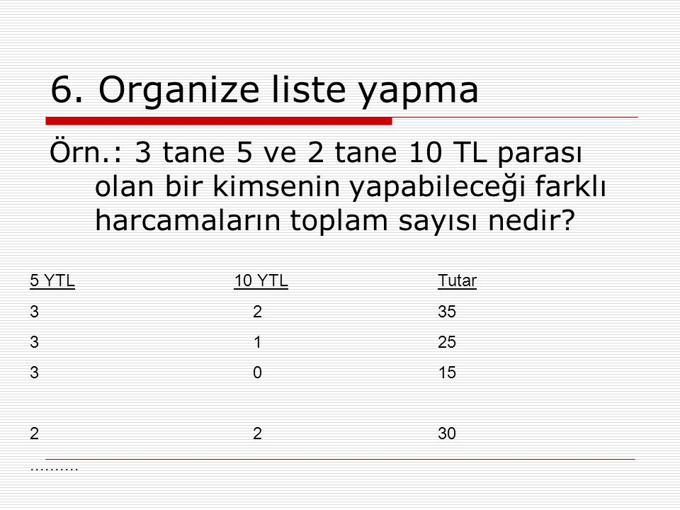 6. Organize liste yapma Örn.: 3 tane 5 ve 2 tane 10 TL parası olan bir kimsenin yapabileceği farklı harcamaların toplam sayısı nedir