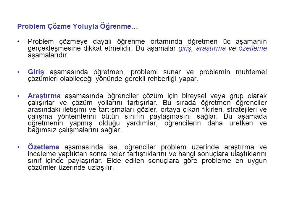 Problem Çözme Yoluyla Öğrenme…