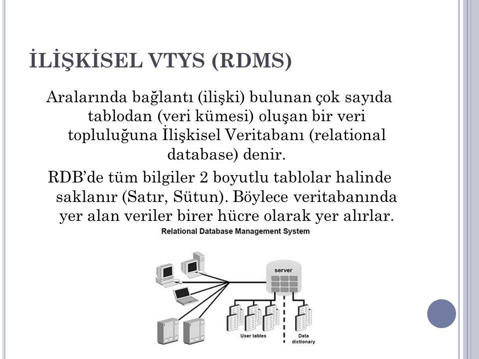 İLİŞKİSEL VTYS (RDMS)