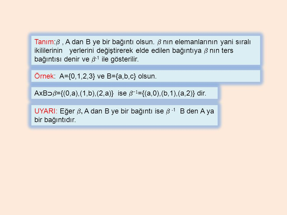 Tanım:b , A dan B ye bir bağıntı olsun. b nın elemanlarının yani sıralı