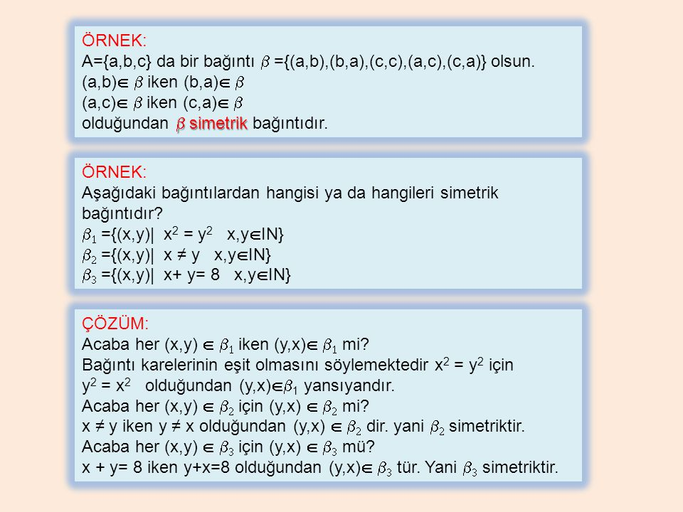 ÖRNEK: A={a,b,c} da bir bağıntı b ={(a,b),(b,a),(c,c),(a,c),(c,a)} olsun. (a,b) b iken (b,a) b. (a,c) b iken (c,a) b.