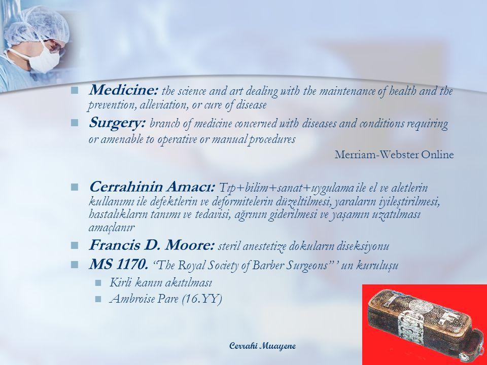 Francis D. Moore: steril anestetize dokuların diseksiyonu