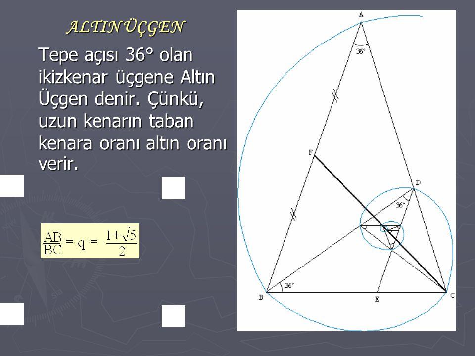 ALTIN ÜÇGEN Tepe açısı 36° olan ikizkenar üçgene Altın Üçgen denir. Çünkü, uzun kenarın taban kenara oranı altın oranı verir.