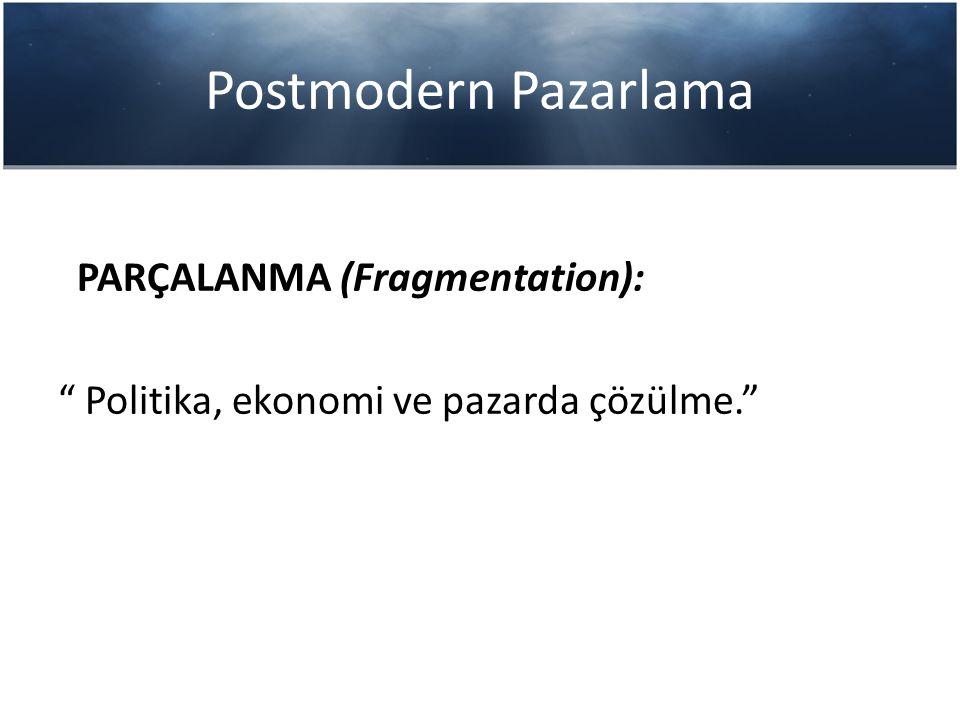 Postmodern Pazarlama PARÇALANMA (Fragmentation):