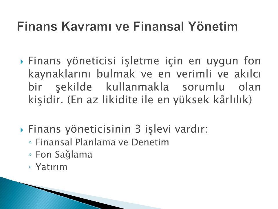 Finans Kavramı ve Finansal Yönetim