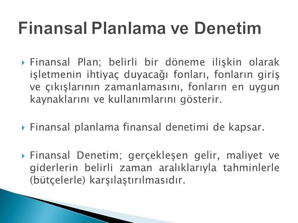 Finansal Planlama ve Denetim