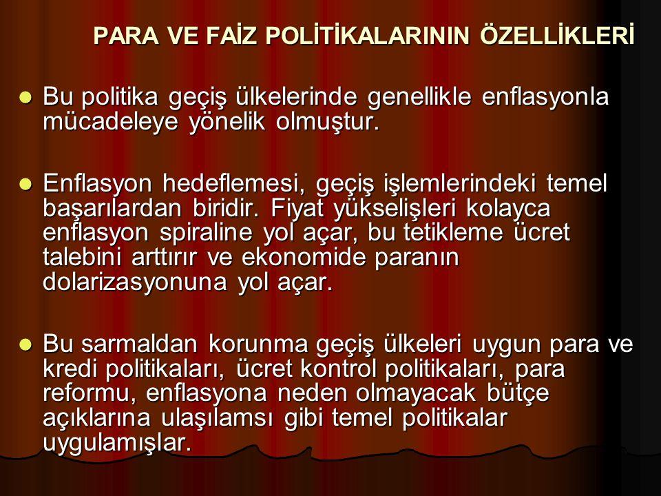 PARA VE FAİZ POLİTİKALARININ ÖZELLİKLERİ