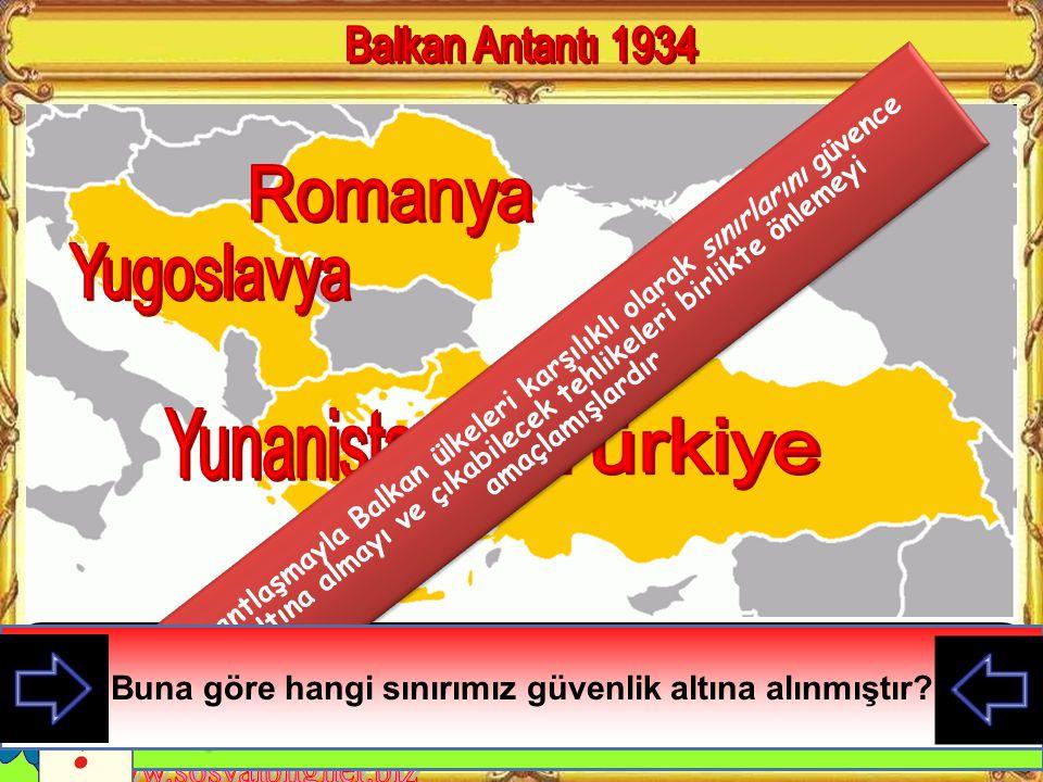 Balkan Antantı 1934 Romanya Yugoslavya Yunanistan Türkiye