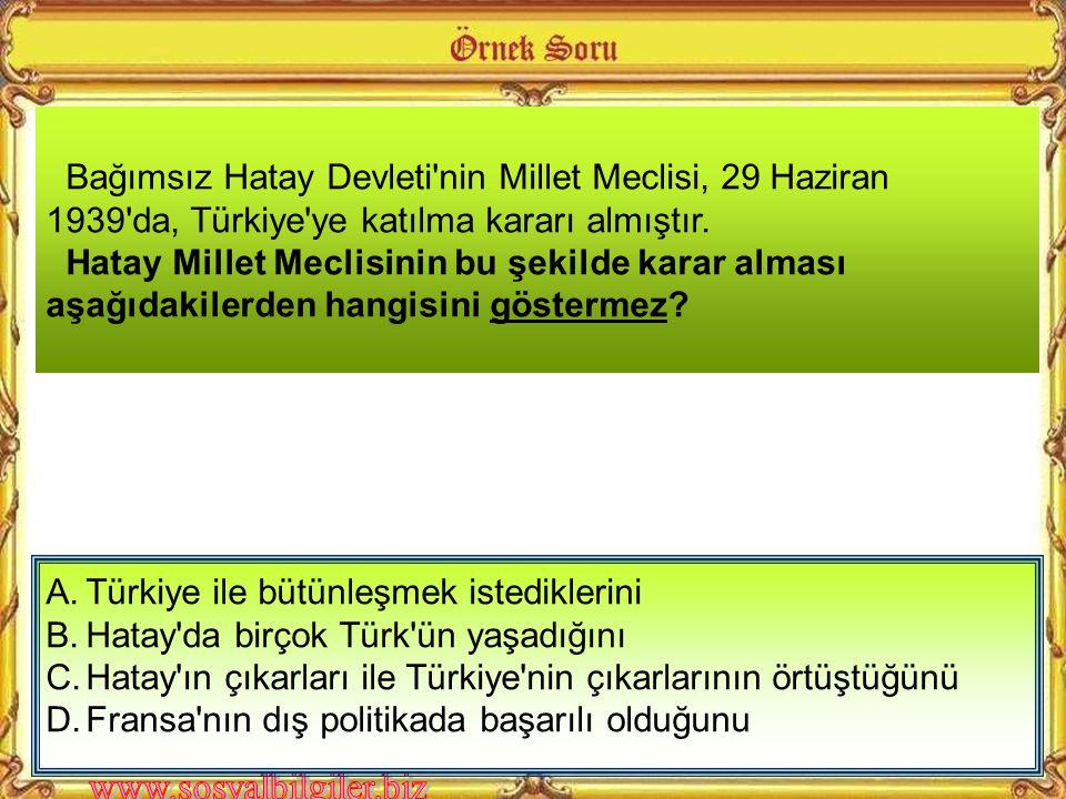 Bağımsız Hatay Devleti nin Millet Meclisi, 29 Haziran 1939 da, Türkiye ye katılma kararı almıştır.