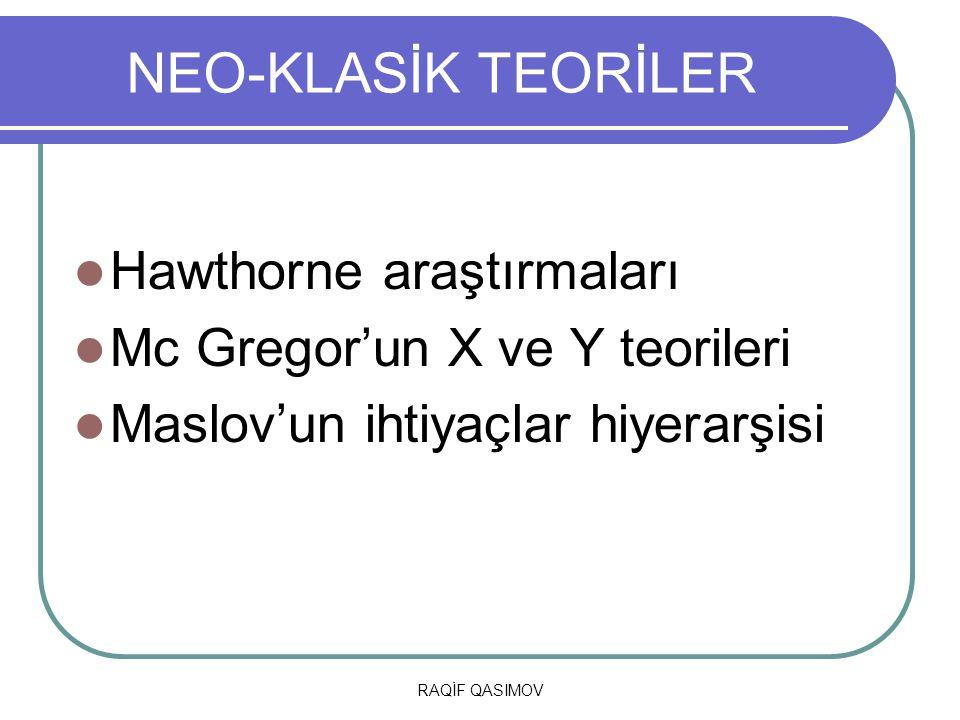 NEO-KLASİK TEORİLER Hawthorne araştırmaları