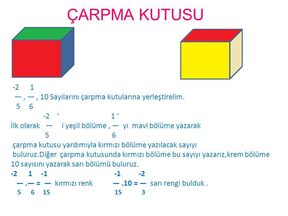 ÇARPMA KUTUSU -2 1. — , — , 10 Sayılarını çarpma kutularına yerleştirelim. 5 6. -2 ' 1 '