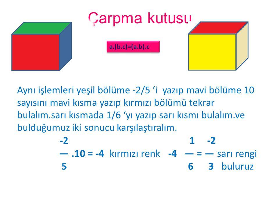 Çarpma kutusu — .10 = -4 kırmızı renk -4 — = — sarı rengi