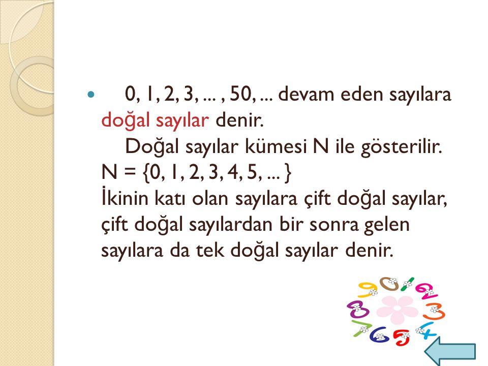 0, 1, 2, 3,. , 50,. devam eden sayılara doğal sayılar denir
