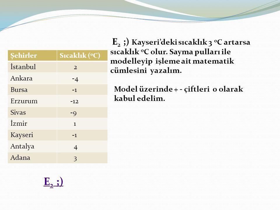 E2 ;) Kayseri'deki sıcaklık 3 0C artarsa sıcaklık 0C olur
