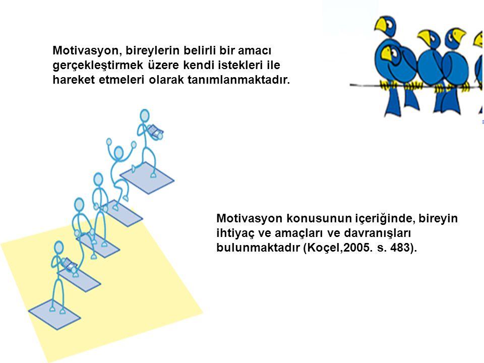 Motivasyon, bireylerin belirli bir amacı gerçekleştirmek üzere kendi istekleri ile hareket etmeleri olarak tanımlanmaktadır.