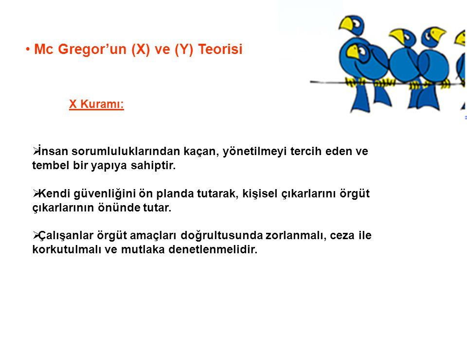 Mc Gregor'un (X) ve (Y) Teorisi