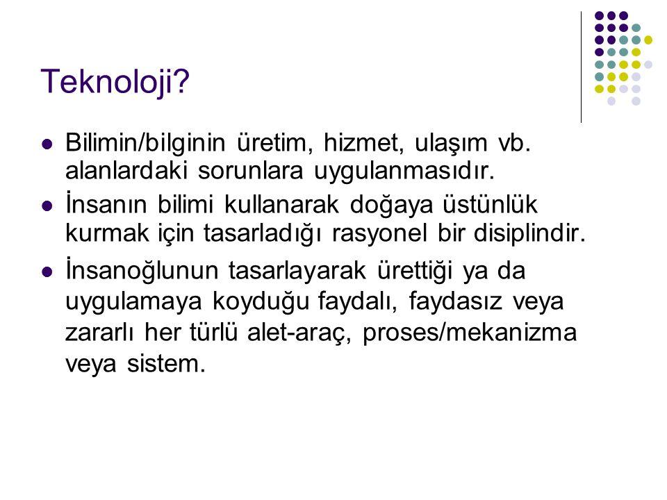 Teknoloji Bilimin/bilginin üretim, hizmet, ulaşım vb. alanlardaki sorunlara uygulanmasıdır.