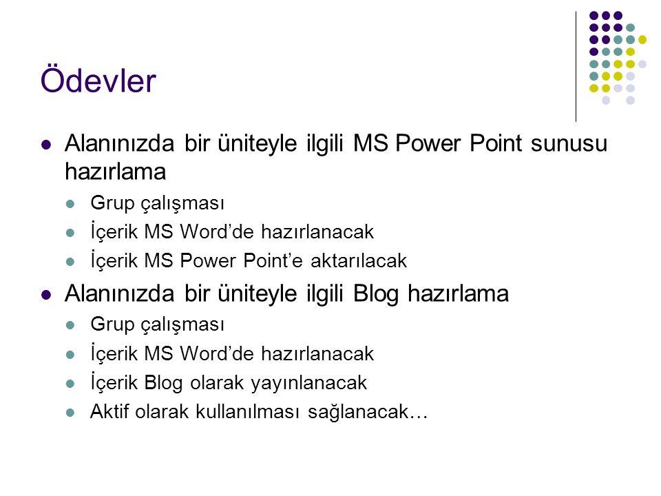 Ödevler Alanınızda bir üniteyle ilgili MS Power Point sunusu hazırlama
