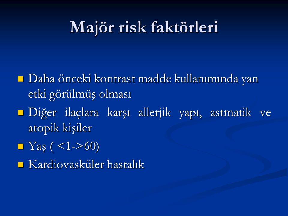 Majör risk faktörleri Daha önceki kontrast madde kullanımında yan etki görülmüş olması.