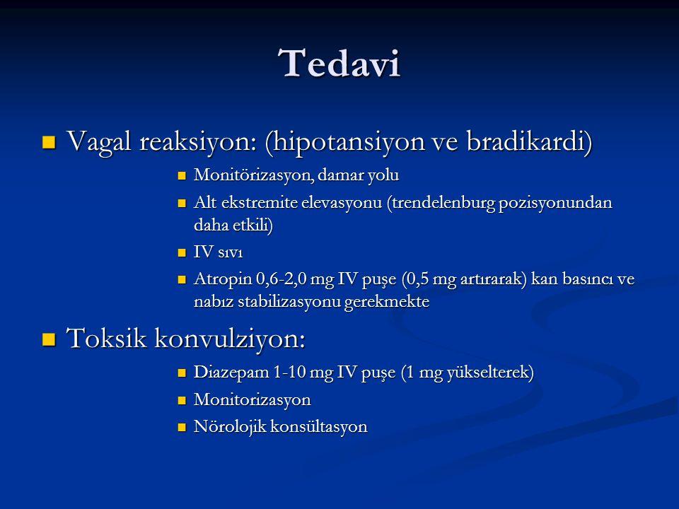 Tedavi Vagal reaksiyon: (hipotansiyon ve bradikardi)