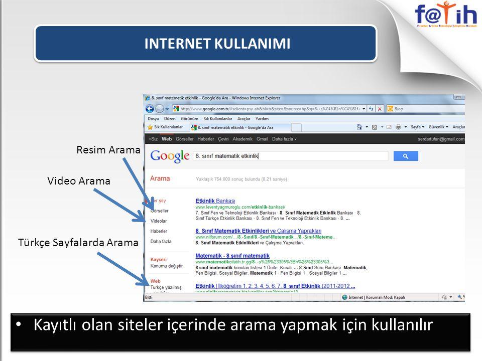 Kayıtlı olan siteler içerinde arama yapmak için kullanılır