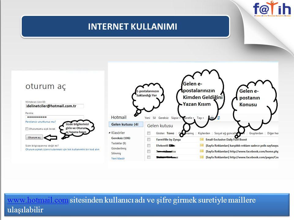 INTERNET KULLANIMI www.hotmail.com sitesinden kullanıcı adı ve şifre girmek suretiyle maillere ulaşılabilir.