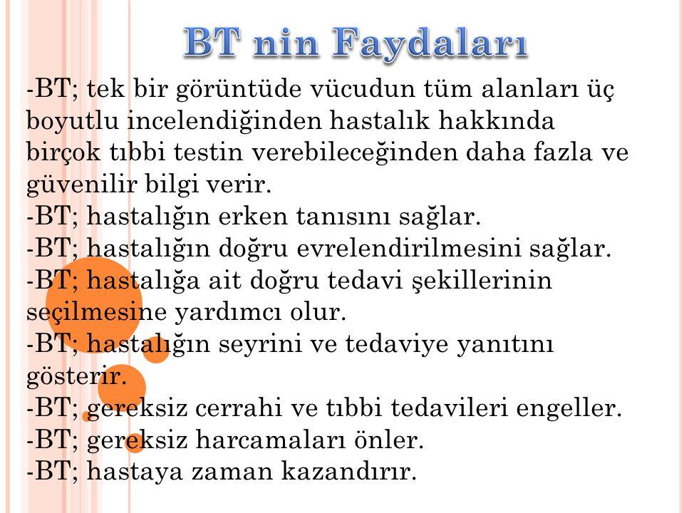 BT nin Faydaları -BT; tek bir görüntüde vücudun tüm alanları üç boyutlu incelendiğinden hastalık hakkında.
