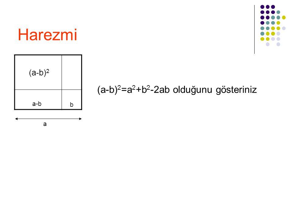 Harezmi (a-b)2 a-b b (a-b)2=a2+b2-2ab olduğunu gösteriniz a