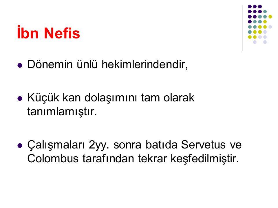 İbn Nefis Dönemin ünlü hekimlerindendir,