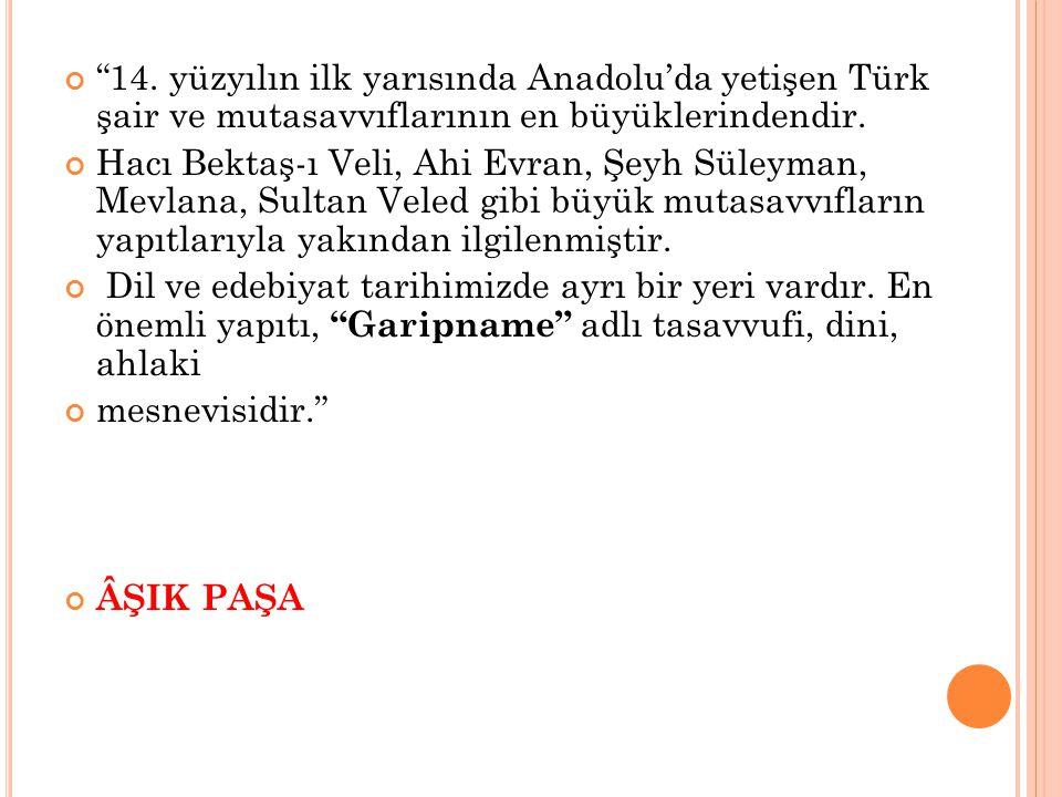 14. yüzyılın ilk yarısında Anadolu'da yetişen Türk şair ve mutasavvıflarının en büyüklerindendir.