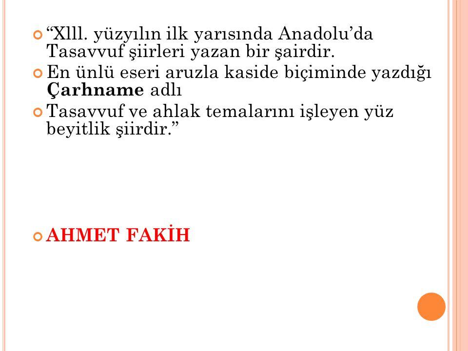 Xlll. yüzyılın ilk yarısında Anadolu'da Tasavvuf şiirleri yazan bir şairdir.
