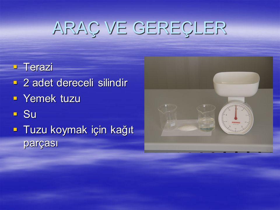ARAÇ VE GEREÇLER Terazi 2 adet dereceli silindir Yemek tuzu Su