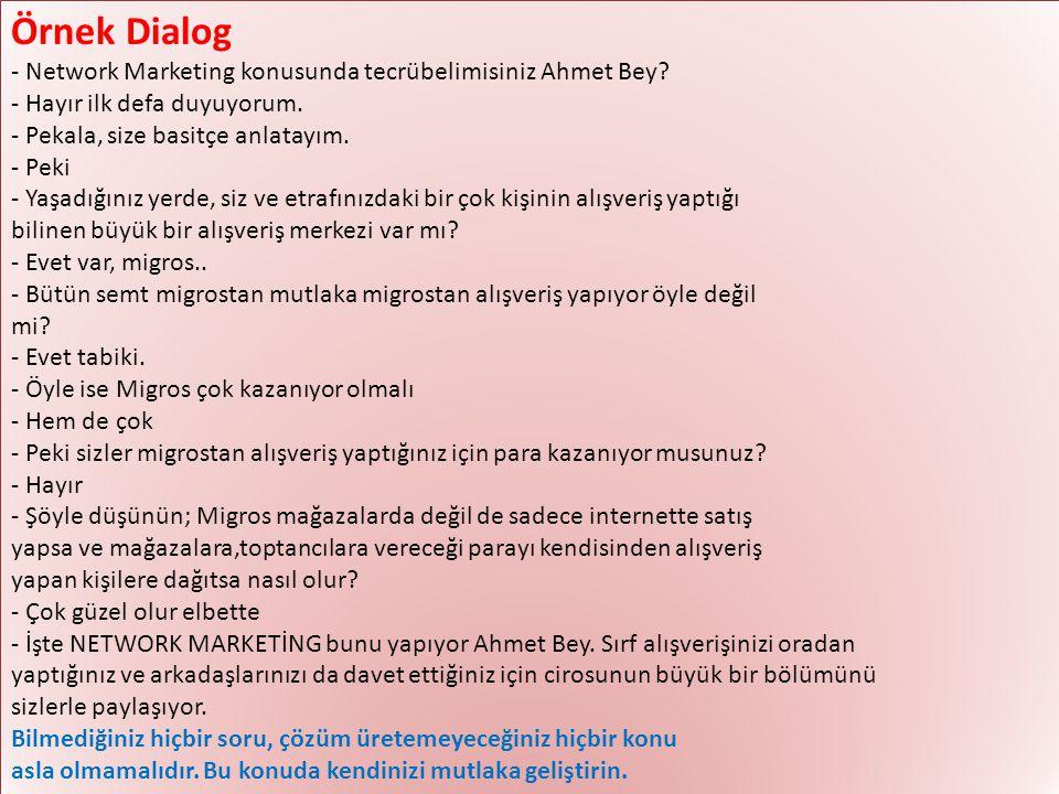Örnek Dialog - Network Marketing konusunda tecrübelimisiniz Ahmet Bey