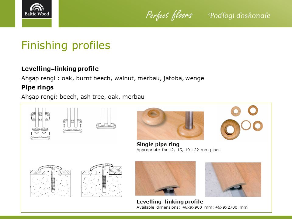 Perfect floors Finishing profiles Levelling–linking profile