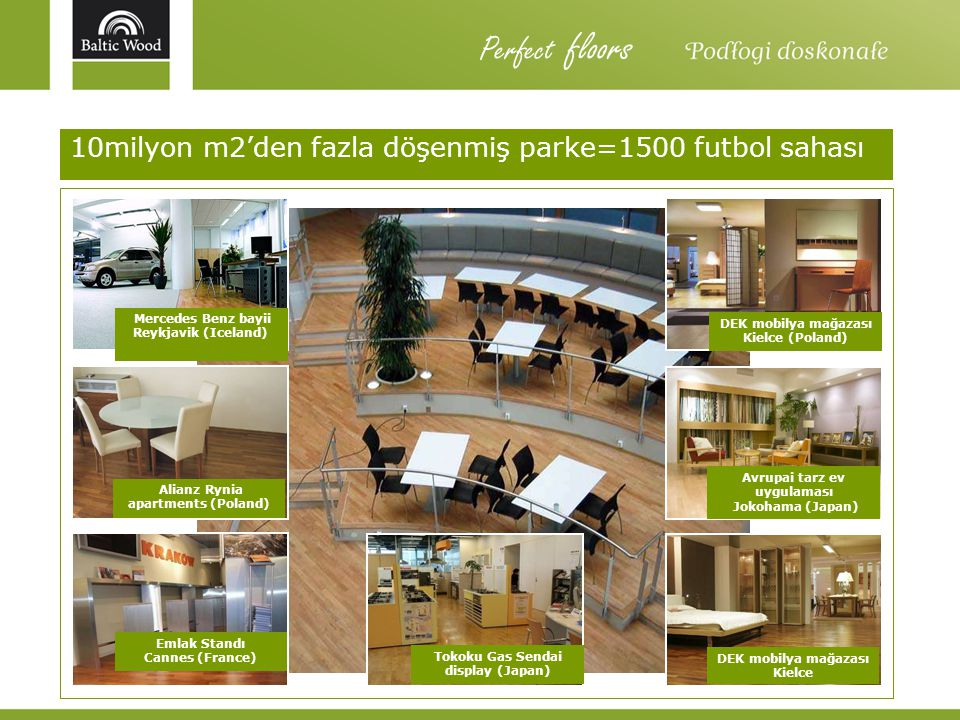 Perfect floors 10milyon m2'den fazla döşenmiş parke=1500 futbol sahası