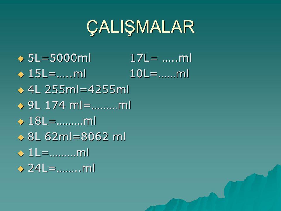 ÇALIŞMALAR 5L=5000ml 17L= …..ml 15L=…..ml 10L=……ml 4L 255ml=4255ml