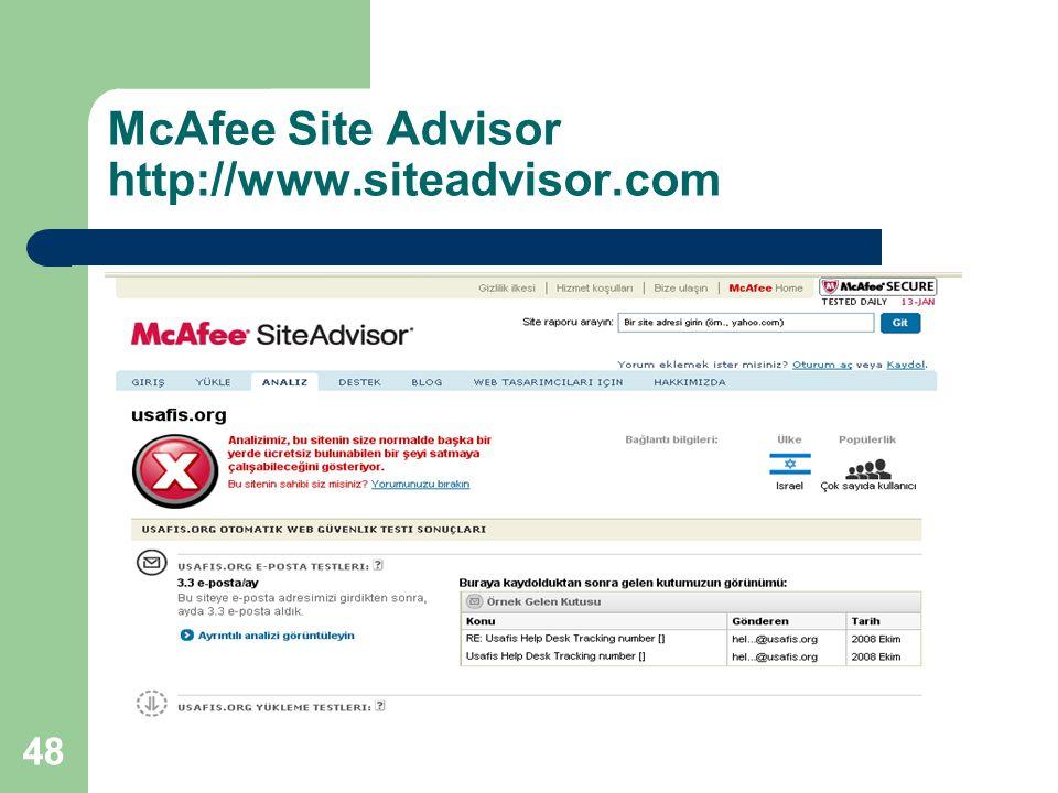 McAfee Site Advisor http://www.siteadvisor.com