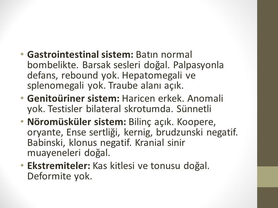 Gastrointestinal sistem: Batın normal bombelikte. Barsak sesleri doğal