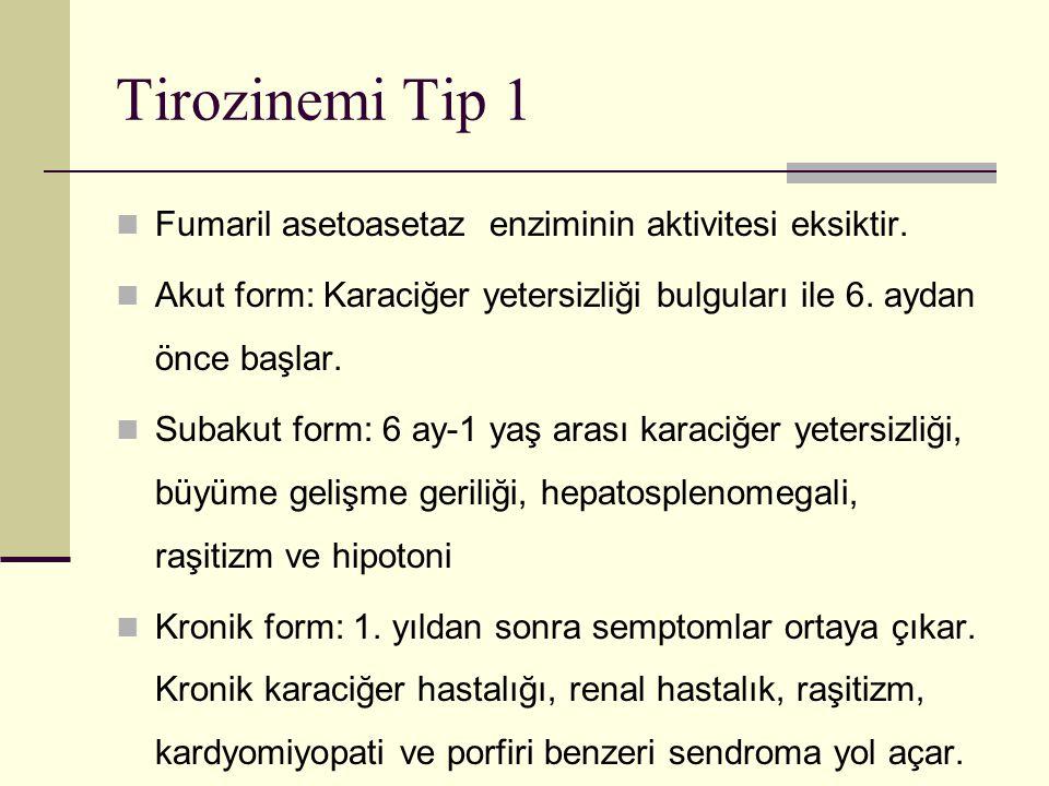 Tirozinemi Tip 1 Fumaril asetoasetaz enziminin aktivitesi eksiktir.