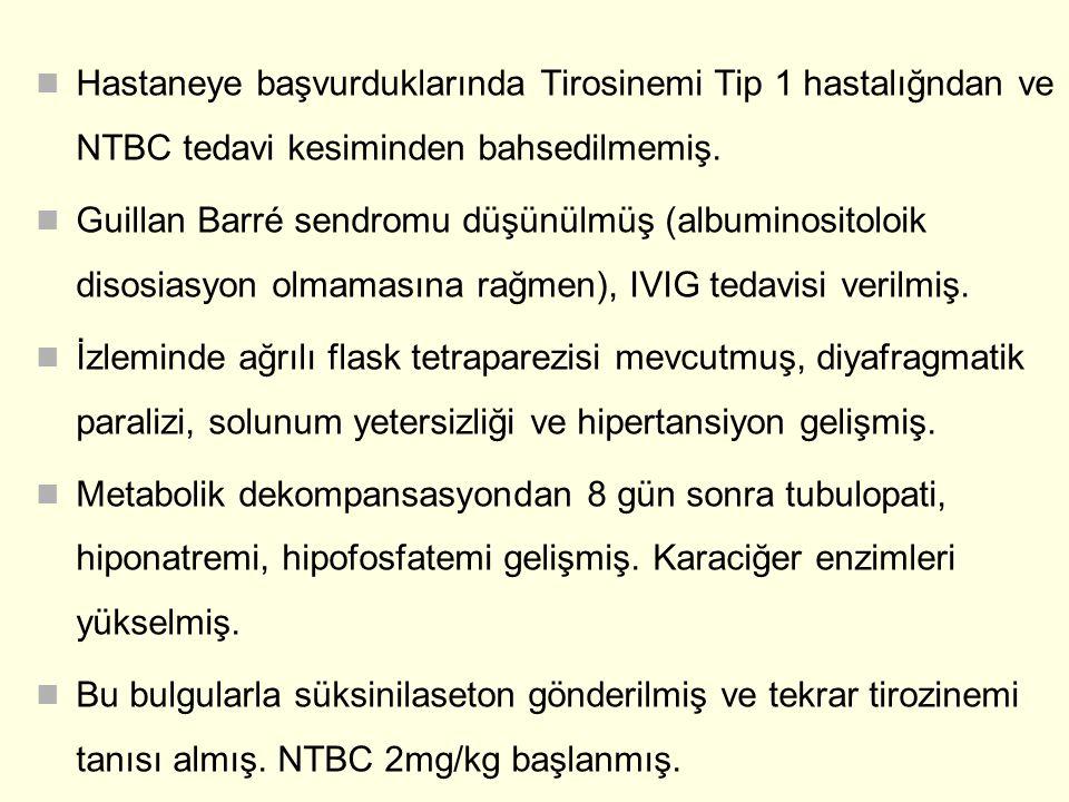 Hastaneye başvurduklarında Tirosinemi Tip 1 hastalığndan ve NTBC tedavi kesiminden bahsedilmemiş.