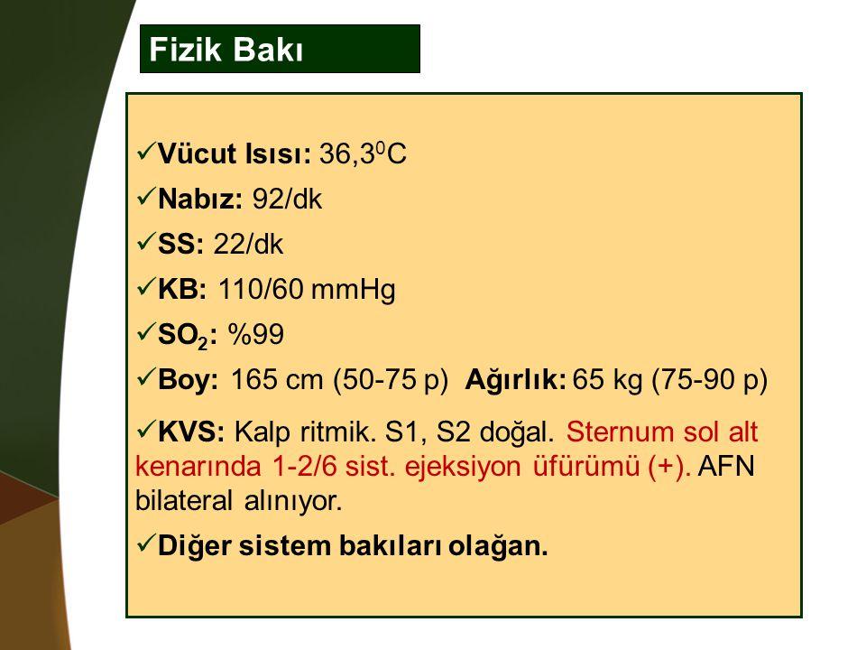 Fizik Bakı Vücut Isısı: 36,30C Nabız: 92/dk SS: 22/dk KB: 110/60 mmHg
