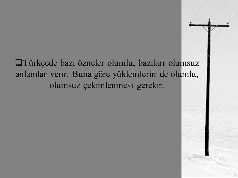 Türkçede bazı özneler olumlu, bazıları olumsuz anlamlar verir