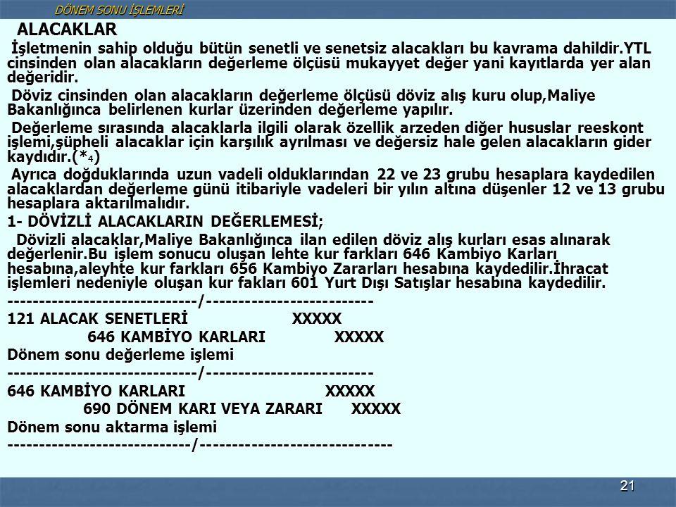 DÖNEM SONU İŞLEMLERİ ALACAKLAR.